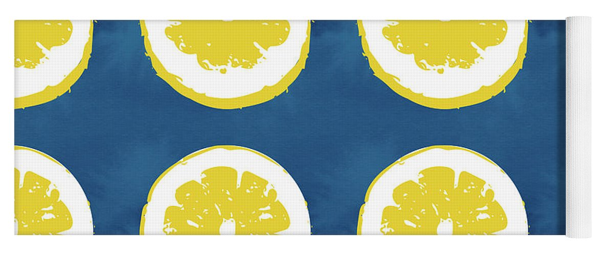Lemons Yoga Mat featuring the mixed media Sliced Lemons On Blue- Art By Linda Woods by Linda Woods