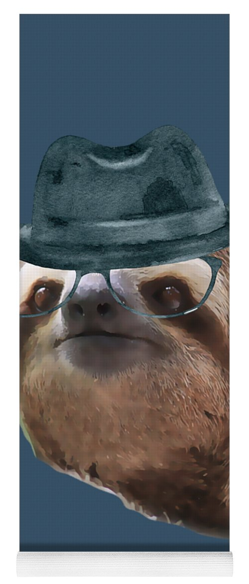 a2bb38726c3e8 Sloth Black Glasses Gangster Hat Sloths In Clothes Yoga Mat for Sale by  Trisha Vroom