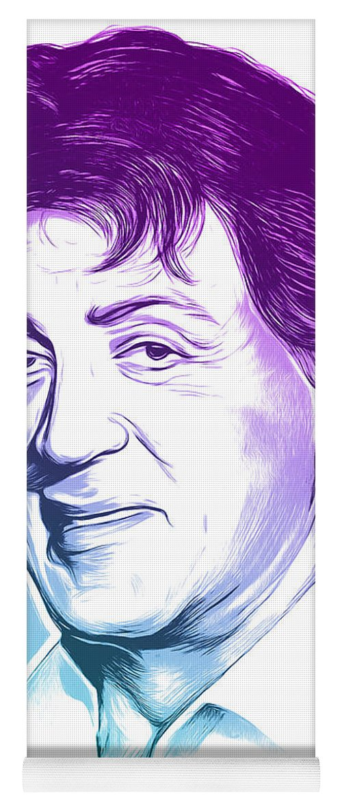 Sly Stallone Yoga Mat featuring the mixed media Sly Stallone by Greg Joens