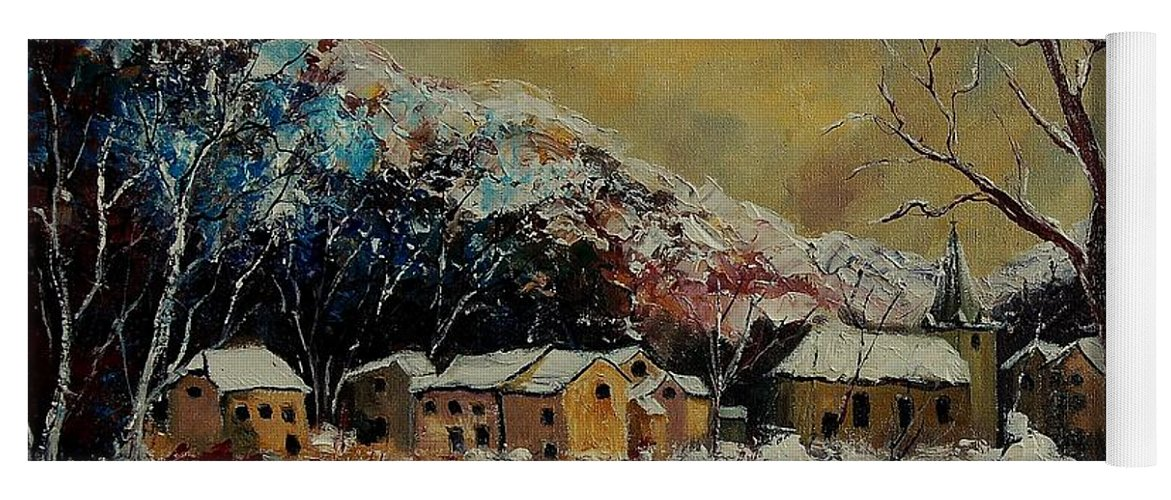 Winter Yoga Mat featuring the painting Snow In Bohan by Pol Ledent