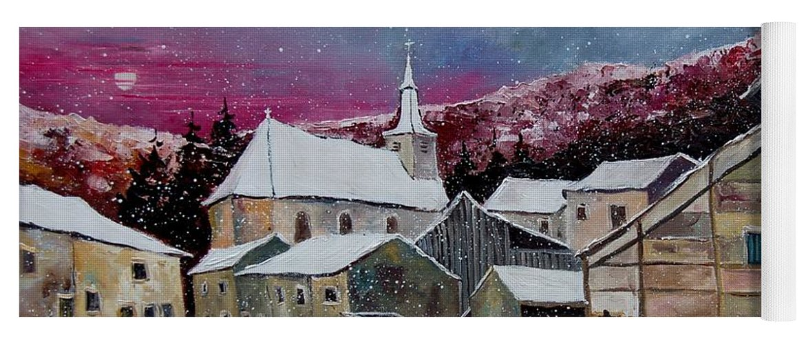 Snow Yoga Mat featuring the painting Snow Is Falling by Pol Ledent