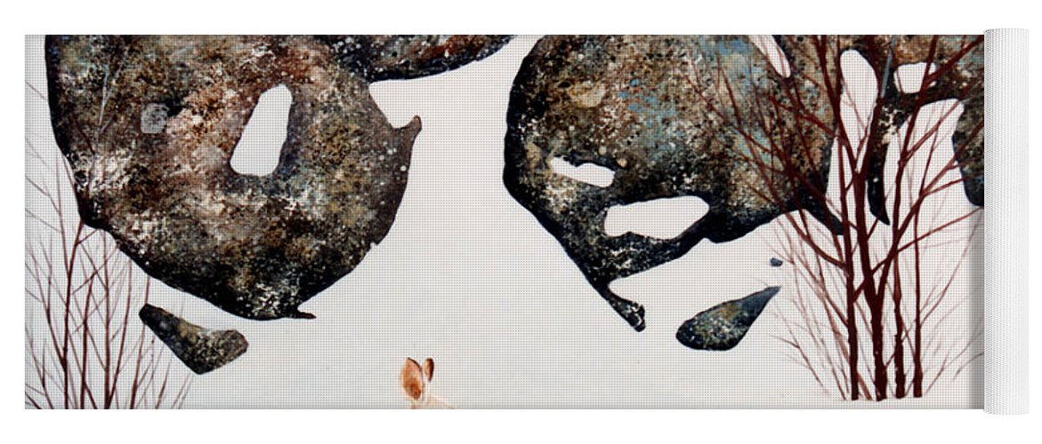 Wildlife Yoga Mat featuring the painting Snow Ledges Rabbit by Frank Wilson