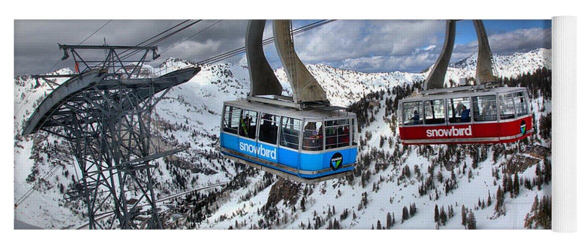 Snowbird Tram Yoga Mat featuring the photograph Snowbird Hidden Peak Trams by Adam Jewell