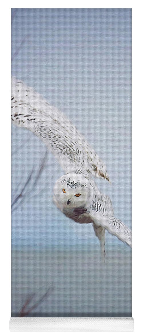 Wildlife Yoga Mat featuring the photograph Snowy Owl In Flight Painting 1 by Carrie Ann Grippo-Pike