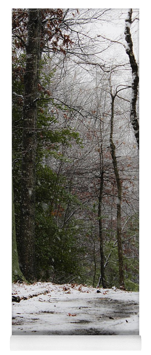Snow Yoga Mat featuring the photograph Snowy Trail Quantico National Cemetery by Teresa Mucha