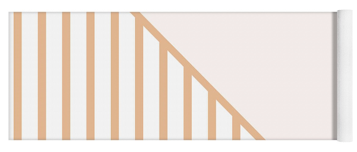 Pink Yoga Mat featuring the digital art Soft Blush and Coral Stripe Triangles by Linda Woods