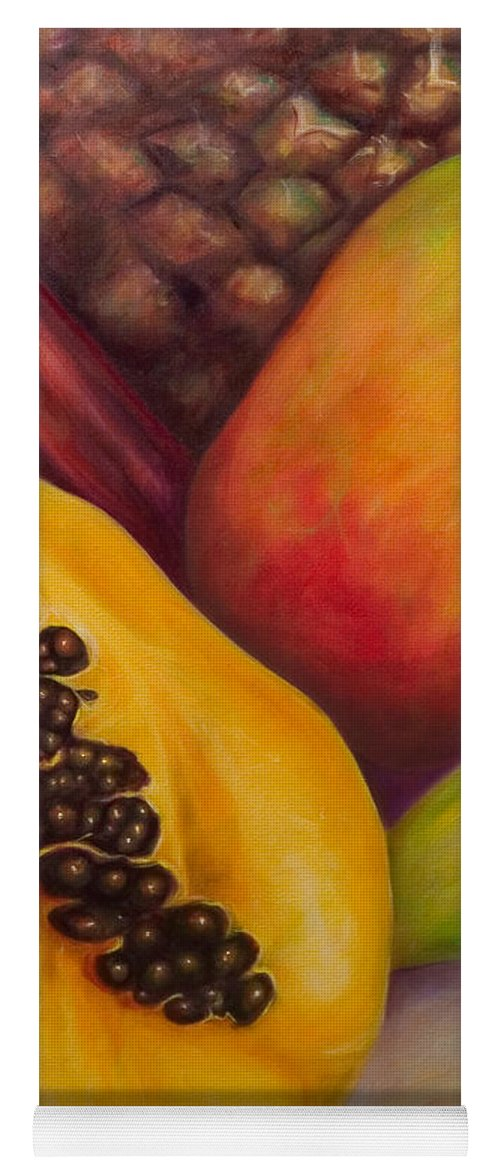 Tropical Fruit Still Life: Mangoes Yoga Mat featuring the painting Solo by Shannon Grissom