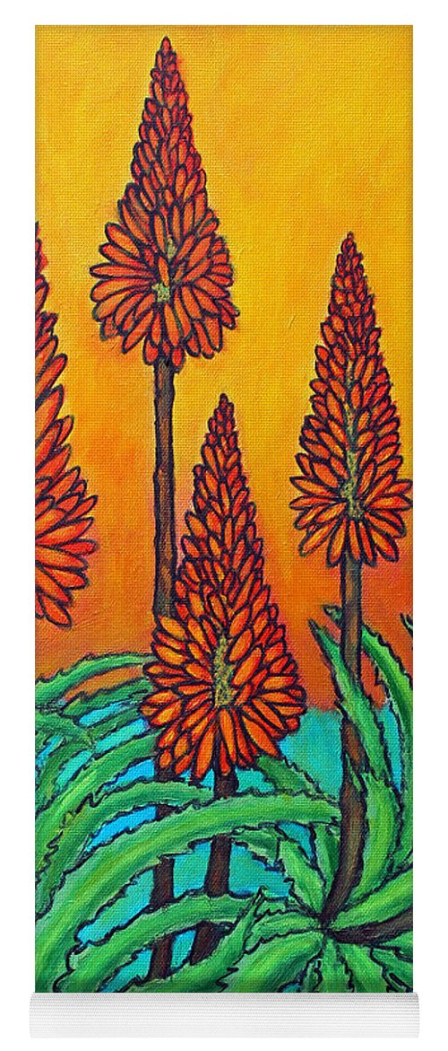 Aloe Yoga Mat featuring the painting South African Fireball by Lisa Lorenz