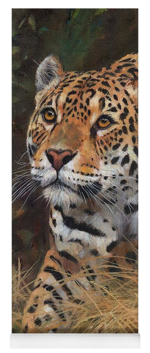 Jaguar Yoga Mat Featuring The Painting South American Jaguar Big Cat By  David Stribbling