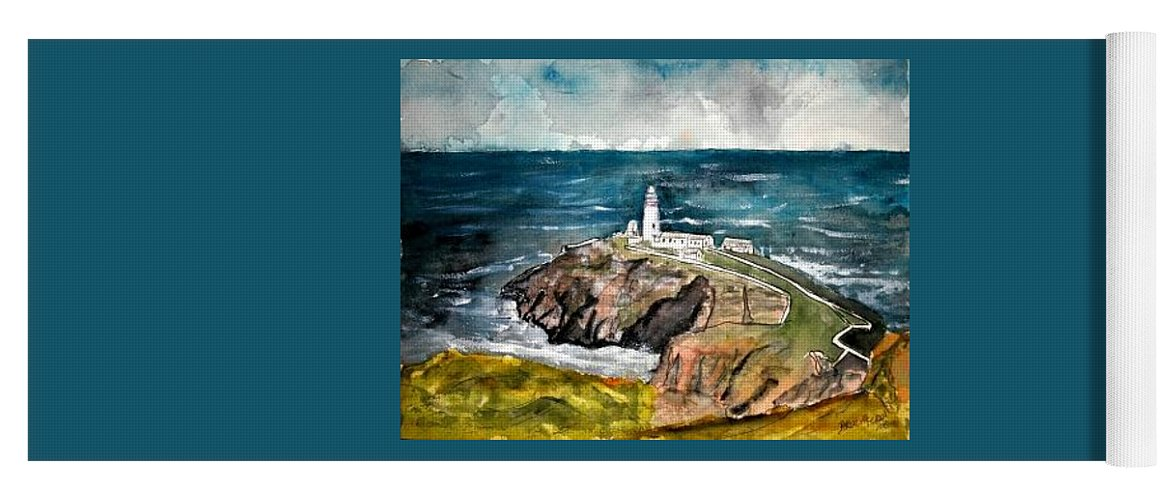 South Stack Lighthouse Yoga Mat featuring the painting South Stack Lighthouse by Derek Mccrea