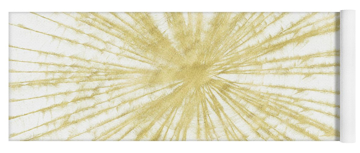 Gold Yoga Mat featuring the painting Spinning Gold- Art by Linda Woods by Linda Woods