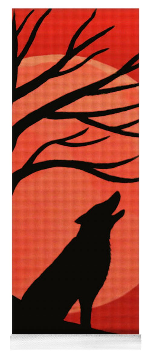Spooky Wolf Tree Yoga Mat