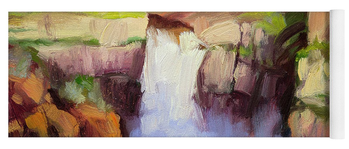 Waterfall Yoga Mat featuring the painting Spring At Palouse Falls by Steve Henderson