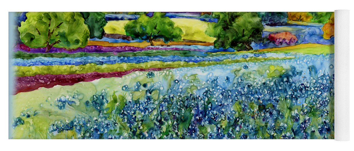 Bluebonnet Yoga Mat featuring the painting Spring Impressions by Hailey E Herrera