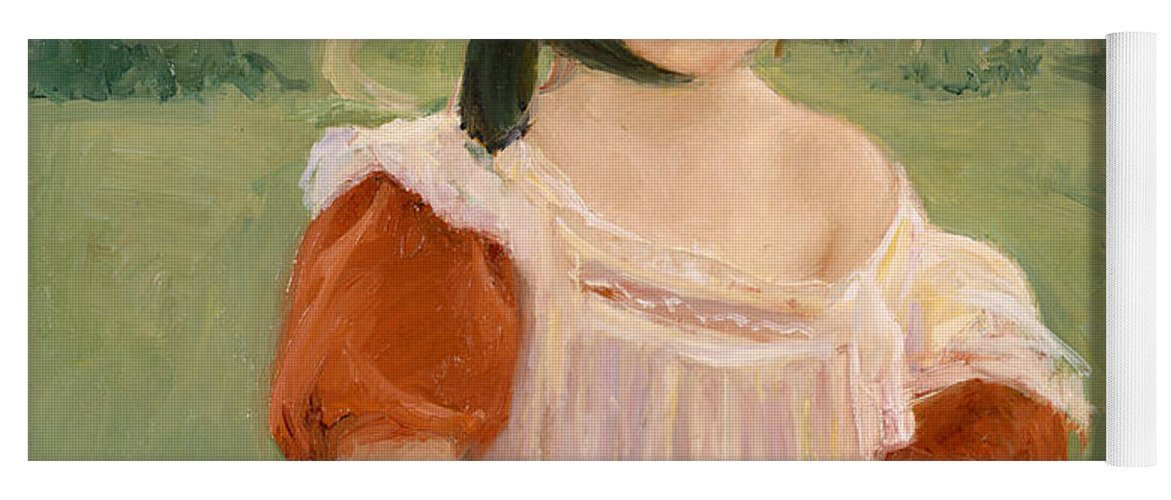 American Painters Yoga Mat featuring the painting Spring, Margot Standing In A Garden by Mary Cassatt