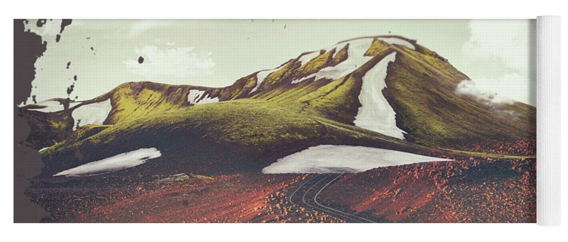 Landscape Spring Winter Dreamscape Hills Mountains Yoga Mat featuring the digital art Spring Thaw by Katherine Smit