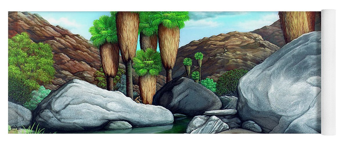 Landscape Yoga Mat featuring the painting Springtime in the Canyons by Snake Jagger