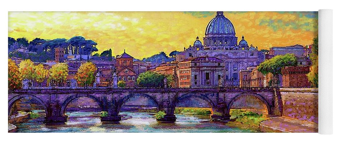 Italy Yoga Mat featuring the painting St Angelo Bridge Ponte St Angelo Rome by Jane Small