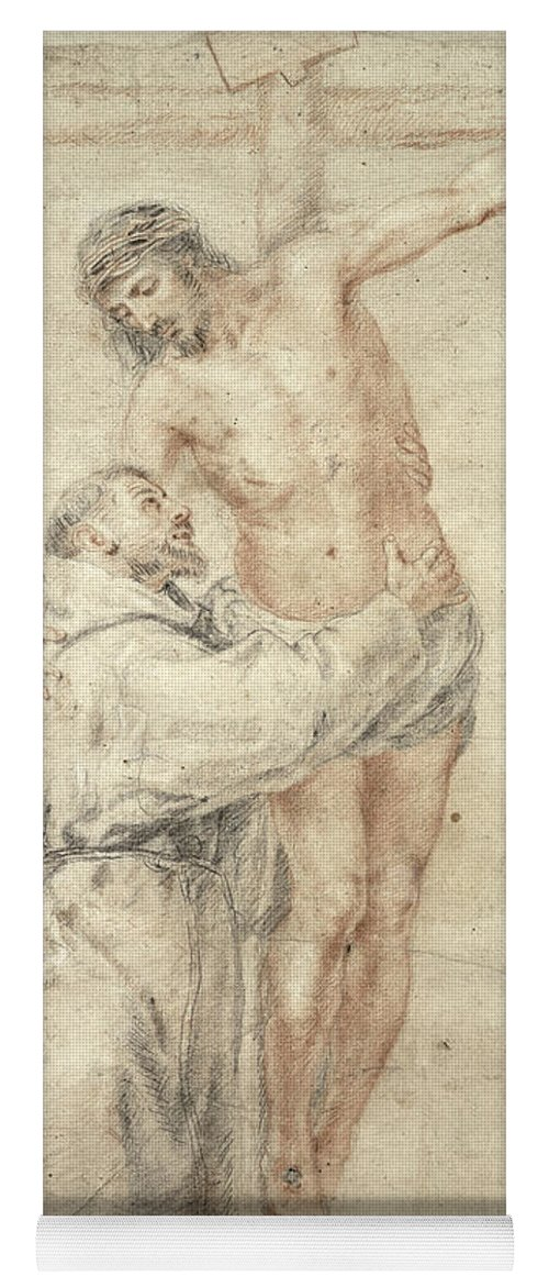 Francis Yoga Mat featuring the painting St Francis Rejecting The World And Embracing Christ by Bartolome Esteban Murillo