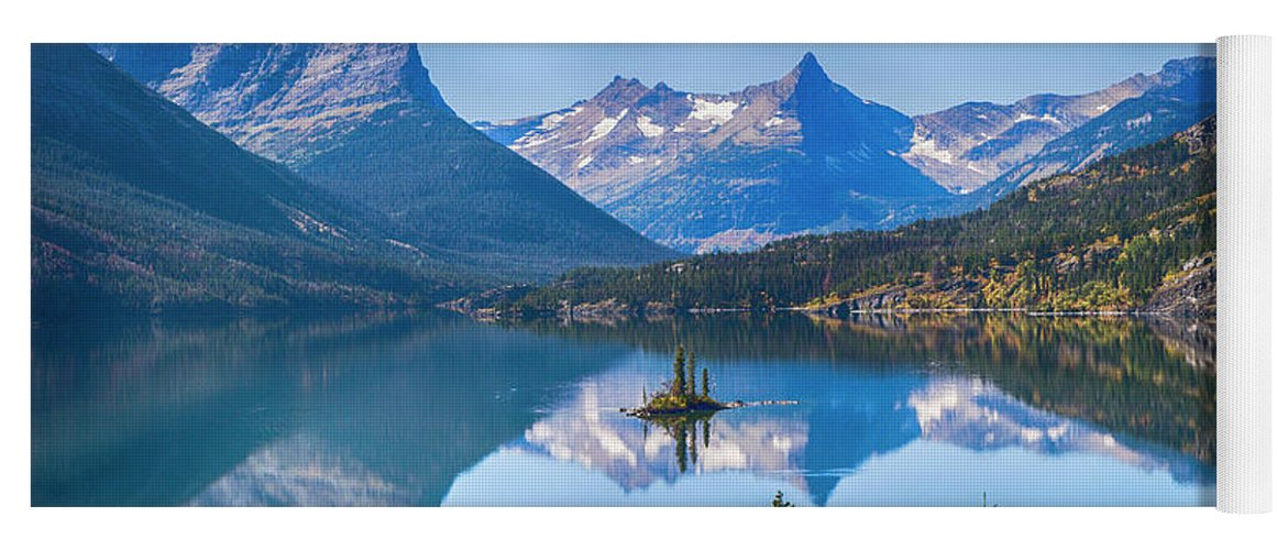 Lake Yoga Mat featuring the photograph St Mary Lake by Bryan Spellman