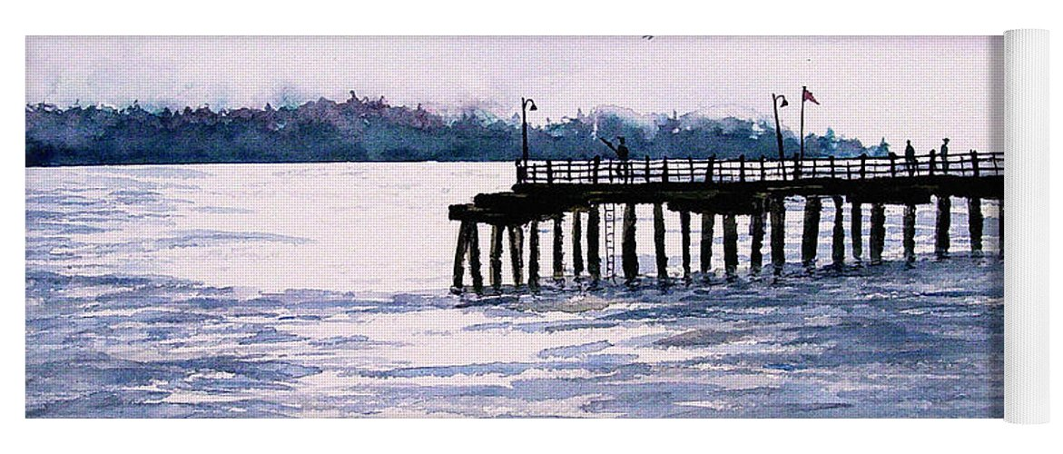 Fishing Yoga Mat featuring the painting St. Simons Island Fishing Pier by Sam Sidders