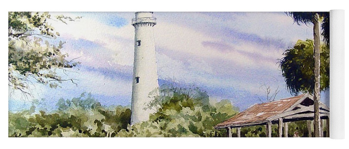 Lighthouse Yoga Mat featuring the painting St. Simons Island Lighthouse by Sam Sidders