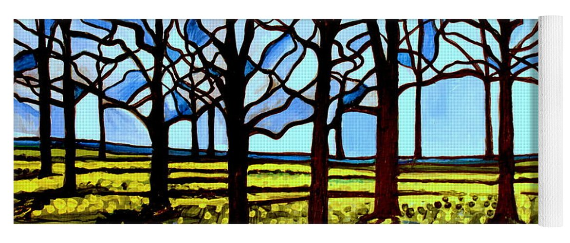 Blue Yoga Mat featuring the painting Stained Glass Trees by Elizabeth Robinette Tyndall