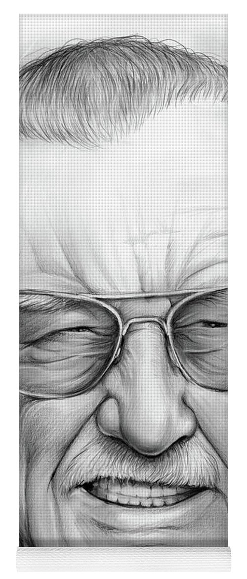 6284e236 Stan Lee Yoga Mat featuring the drawing Stan Lee by Greg Joens