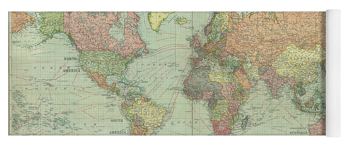 Stanford world map 1922 yoga mat for sale by daniel hagerman world map yoga mat featuring the photograph stanford world map 1922 by daniel hagerman gumiabroncs Gallery