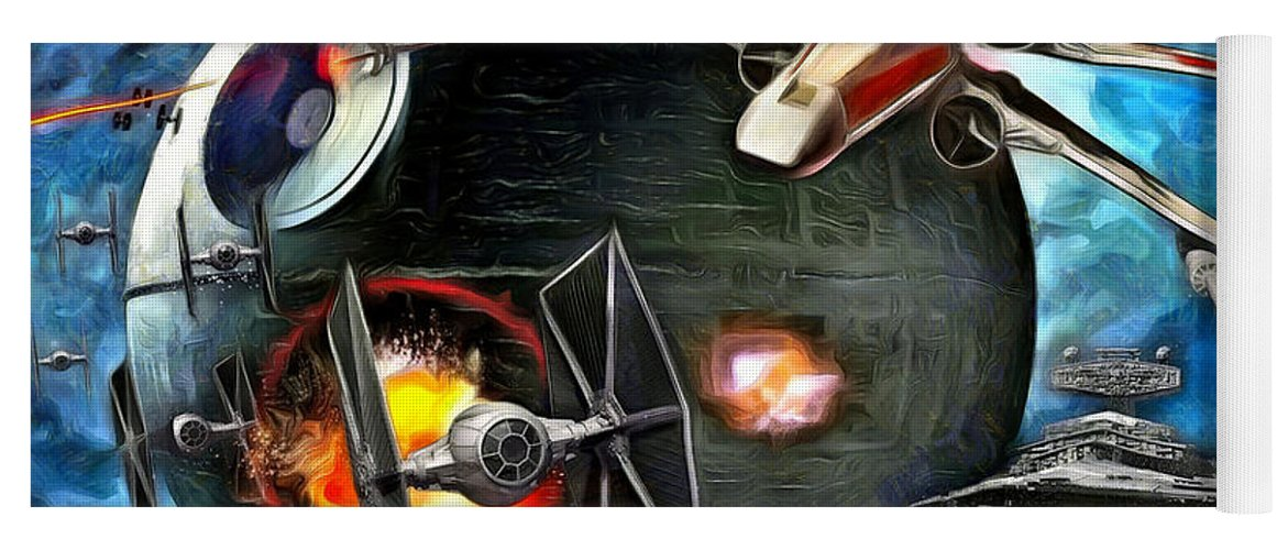 Star Wars 7 Yoga Mat featuring the painting Star Wars Worlds At War by Leonardo Digenio