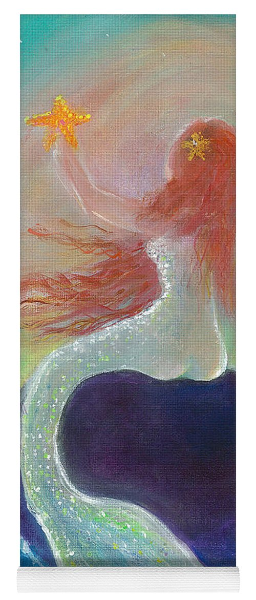 Mermaid Yoga Mat featuring the painting Starfish Mermaid by Lily Nava