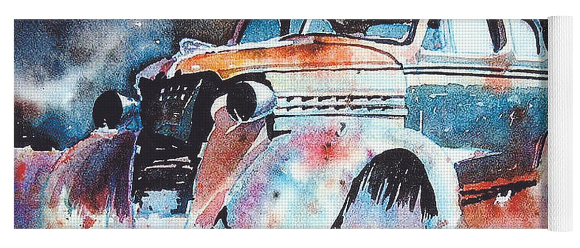 Chev Yoga Mat featuring the painting StarlightChevy by Ron Morrison