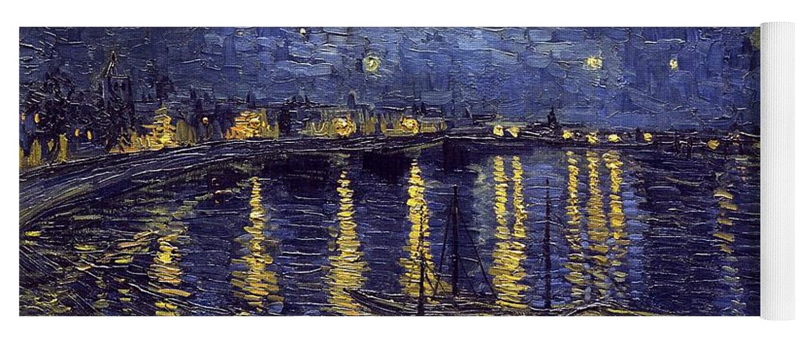 Vincent Van Gogh Yoga Mat featuring the painting Starry Night Over The Rhone by Van Gogh