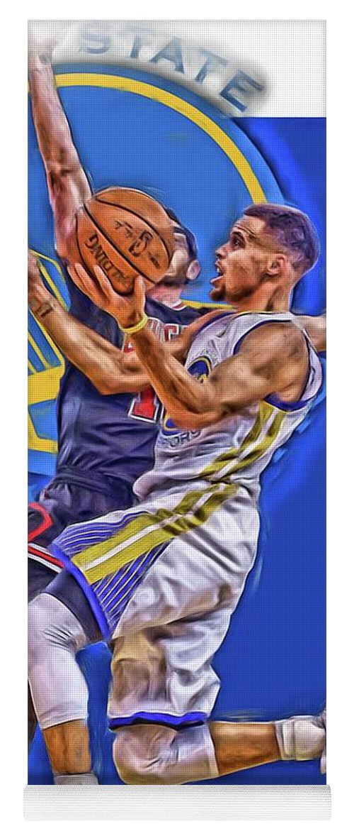 Stephen Curry Yoga Mat featuring the mixed media Stephen Curry Golden State Warriors Oil Art by Joe Hamilton