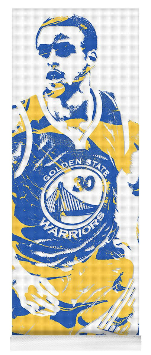 Stephen Curry Yoga Mat featuring the mixed media Stephen Curry Golden State Warriors Pixel Art 21 by Joe Hamilton
