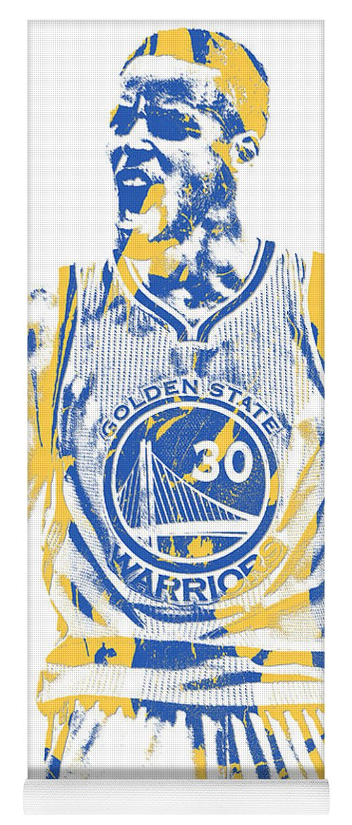 Stephen Curry Yoga Mat featuring the mixed media Stephen Curry Golden State Warriors Pixel Art 30 by Joe Hamilton