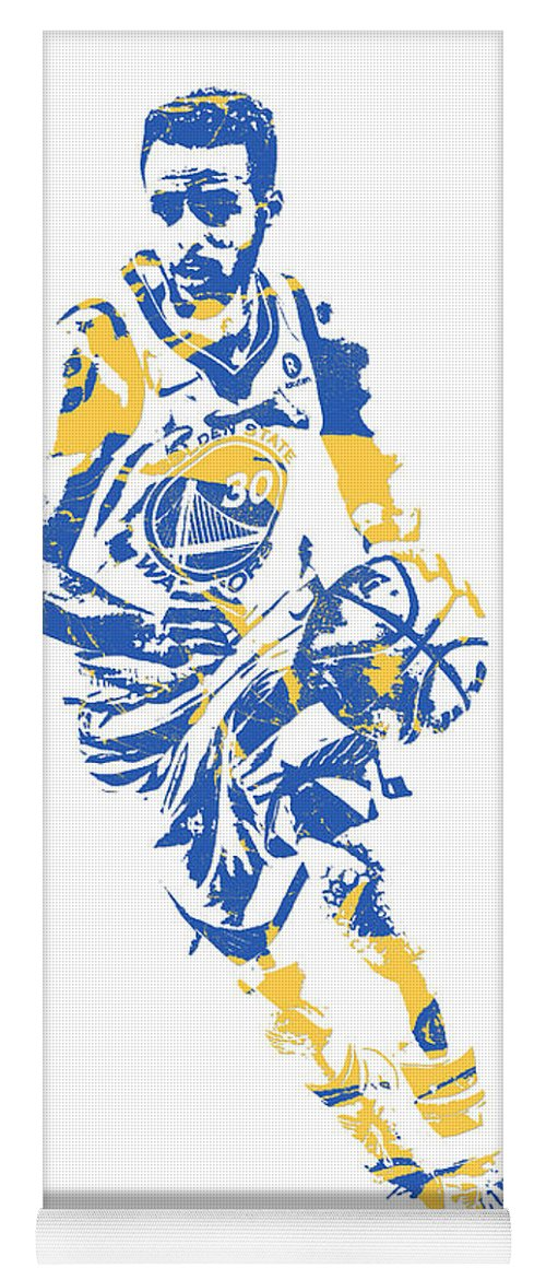 Stephen Curry Yoga Mat featuring the mixed media Stephen Curry Golden State Warriors Pixel Art 50 by Joe Hamilton