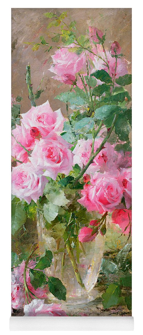 Still Yoga Mat featuring the painting Still Life Of Roses In A Glass Vase by Frans Mortelmans