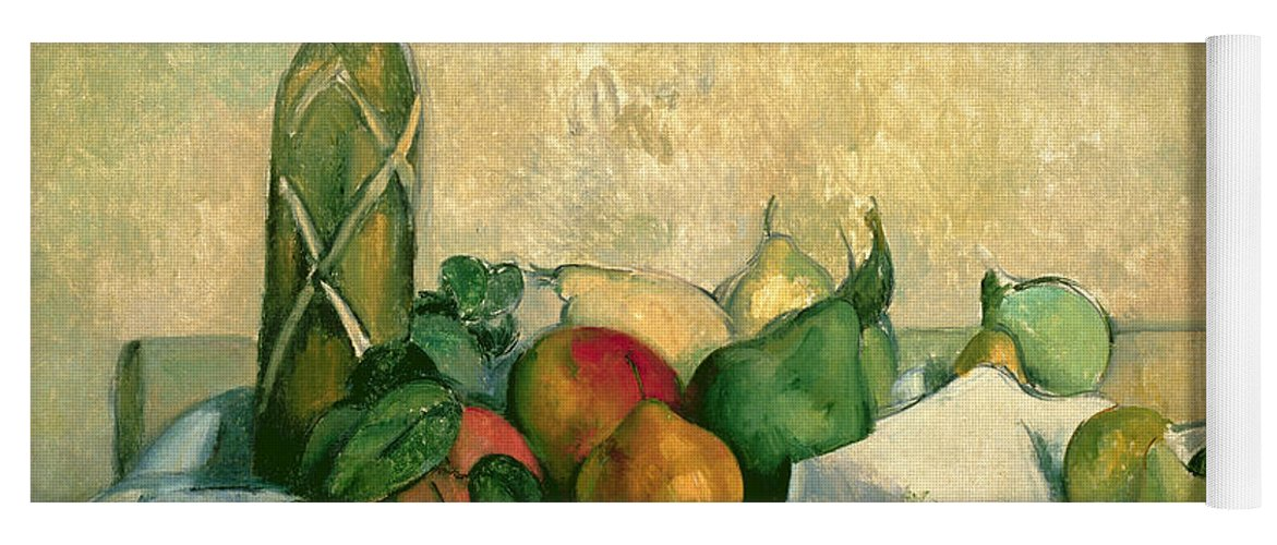Still Yoga Mat featuring the painting Still Life With Bottle Of Liqueur by Paul Cezanne
