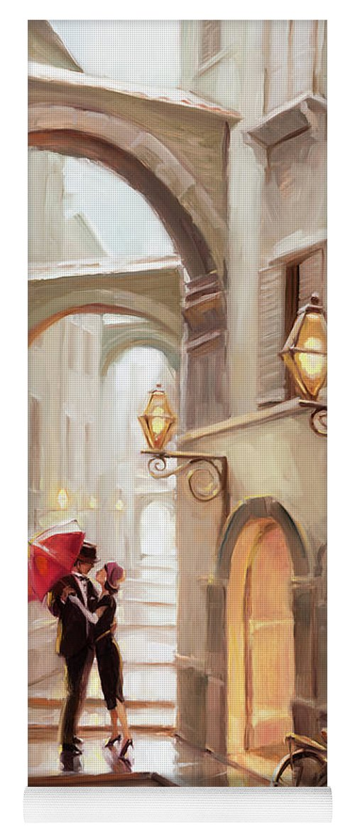 Love Yoga Mat featuring the painting Stolen Kiss by Steve Henderson