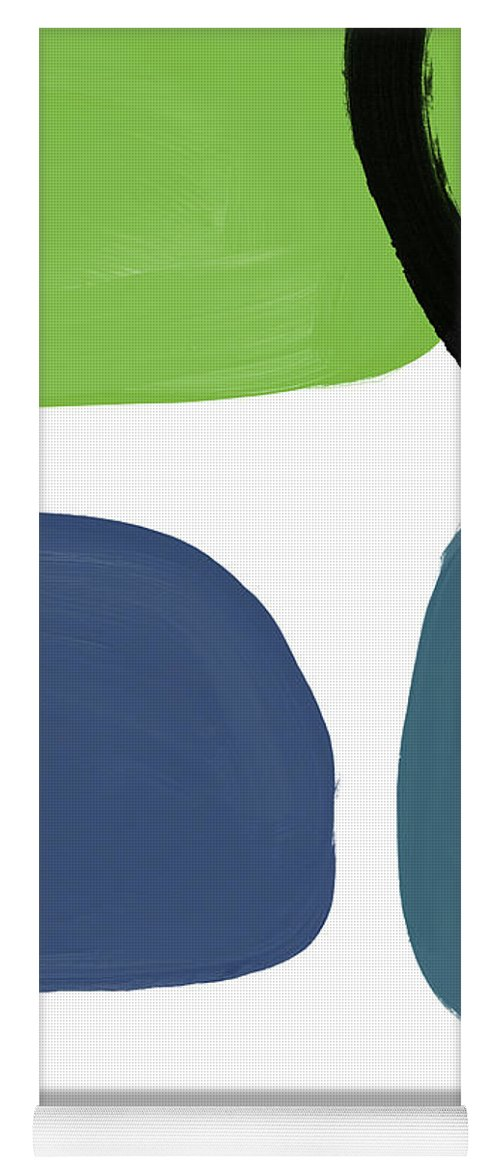 Blue Yoga Mat featuring the mixed media Stones 7- Modern Art By Linda Woods by Linda Woods