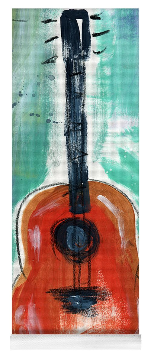 Guitar Yoga Mat featuring the painting Storyteller's Guitar by Linda Woods