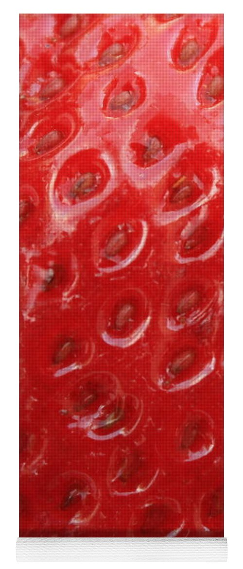 Strawberry Yoga Mat featuring the photograph Strawberry Closeup by Carol Groenen
