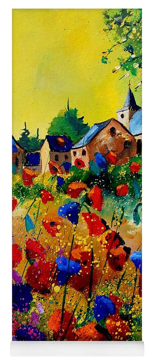 Poppy Yoga Mat featuring the painting Summer in Sosoye by Pol Ledent