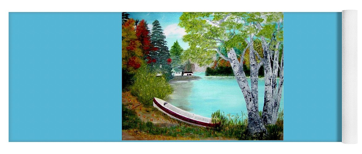 Beautiful Bracebridge Ontario Oil Painting Yoga Mat featuring the painting Summer In The Muskoka's by Peggy Holcroft