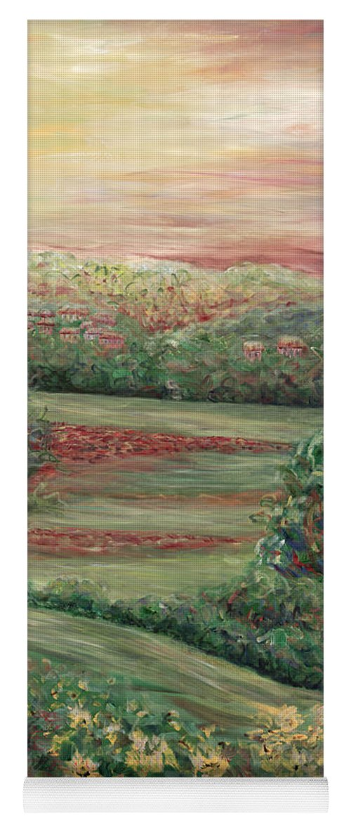Landscape Yoga Mat featuring the painting Summer in Tuscany by Nadine Rippelmeyer