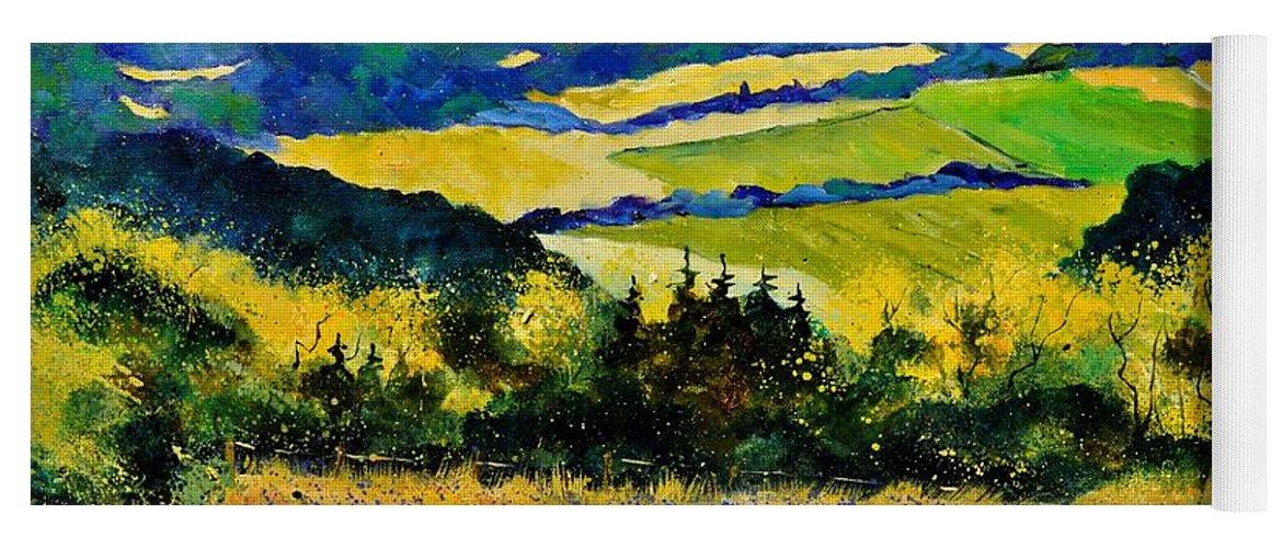 Landscape Yoga Mat featuring the painting Summer Landscape by Pol Ledent