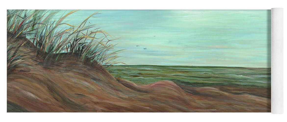 Summer Yoga Mat featuring the painting Summer Sand Dunes by Nadine Rippelmeyer