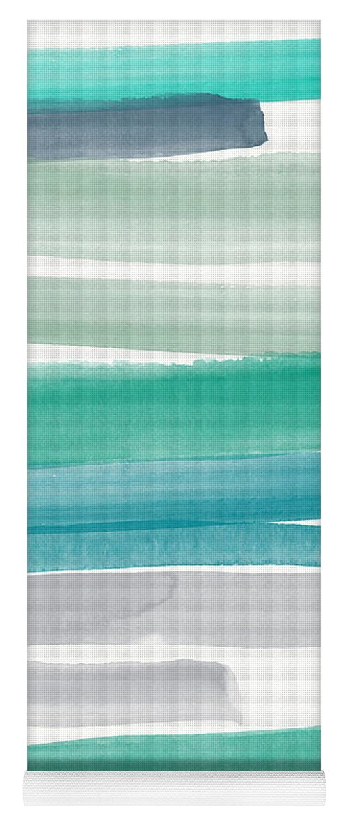 Abstract Sky Yoga Mat featuring the painting Summer Sky by Linda Woods