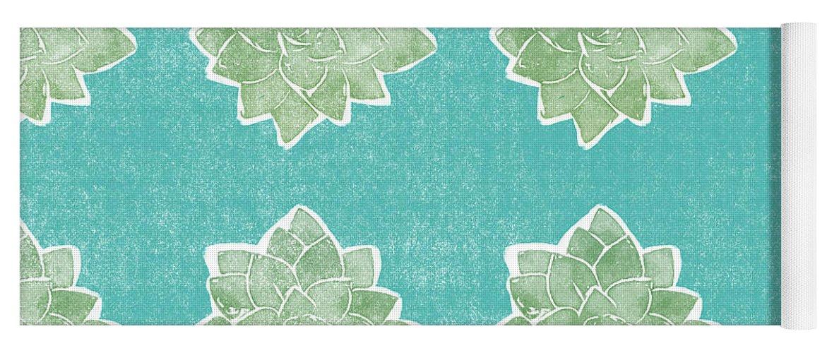 Succulents Yoga Mat featuring the mixed media Summer Succulents- Art By Linda Woods by Linda Woods
